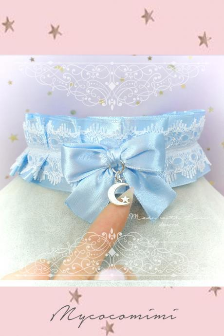 Choker Necklace ,Kitten Rule Play Collar , BDSM DDLG Baby Blue White Lace Ruffles Bow Moon Star, Jewelry Daddys Girl Kawaii pastel Lolita