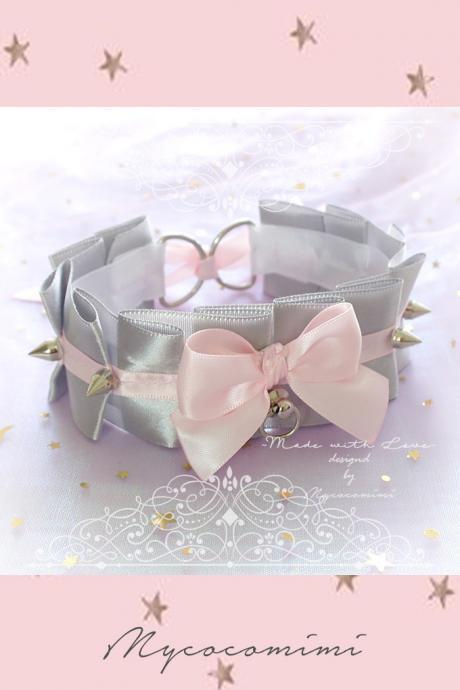 Choker Necklace , Kitten Rule Play Collar Silvery Gray Baby Pink Satin Bow O Ring Spikes ,pastel goth Lolita Neko BDSM DDLG Daddys Girl