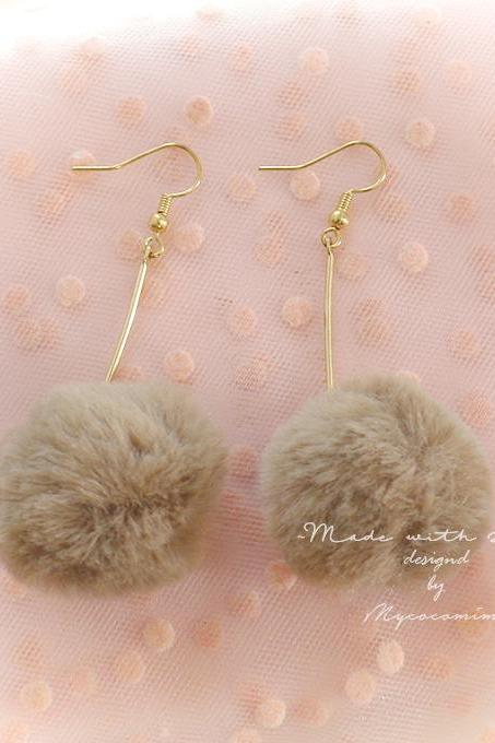 Sweetheart Lovely Brown Faux Fur Ball Dangle Earrings ,Clip On No Pierce , Lolita Cute Kawaii Sweet DDLG Baby Girl Jewelry Winter