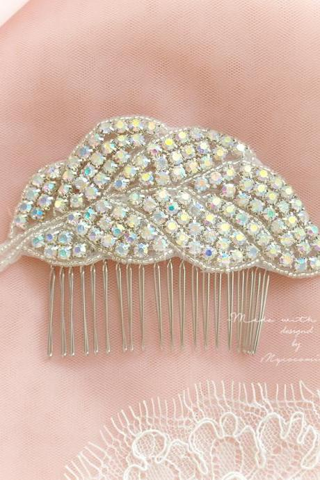 Luxury Crystal Rhinestone Leaves Hair Comb Bridal Rustic Wedding Headpiece Accessories Headress Romantic Great Gatsby