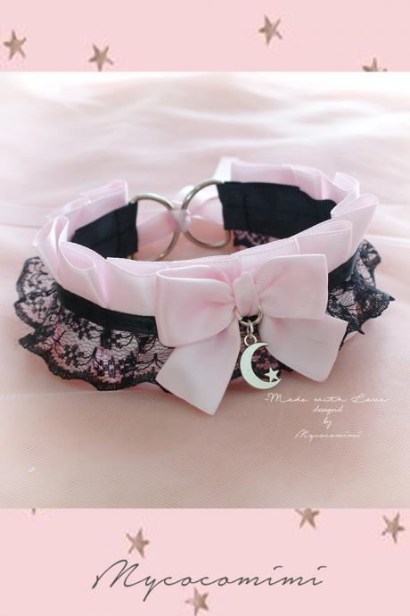 Choker Necklace , Kitten Pet Play Collar DDLG Baby pink Black Lace Bow Moon Star , Jewelry pastel Lolita Daddys Girl BDSM Fairy Kei