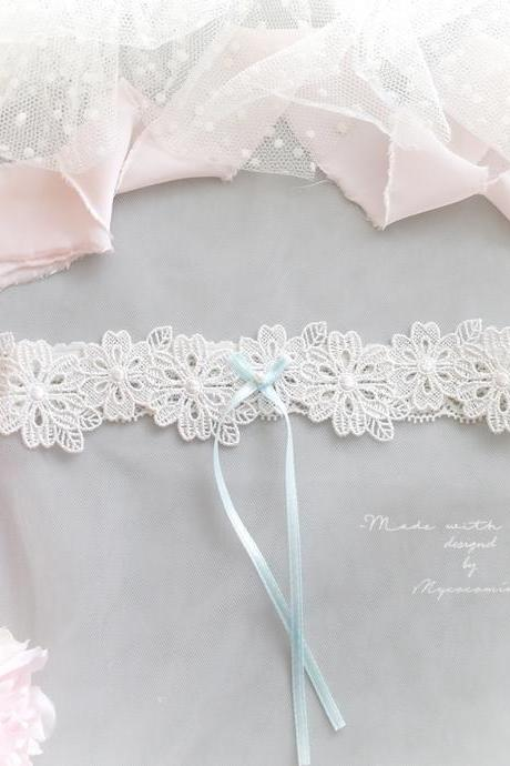 White Flower Lace Garter, Light Blue Pearl Bow, Simple Wedding Bridal Garter Lingerie Keepsake Toss Elegance Cute