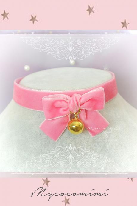 Choker Necklace ,Kitten Play Collar, Hot Pink Velvet Bow Gold Bell , pastel goth Lolita Neko DDLG Adult Baby Daddys Girl