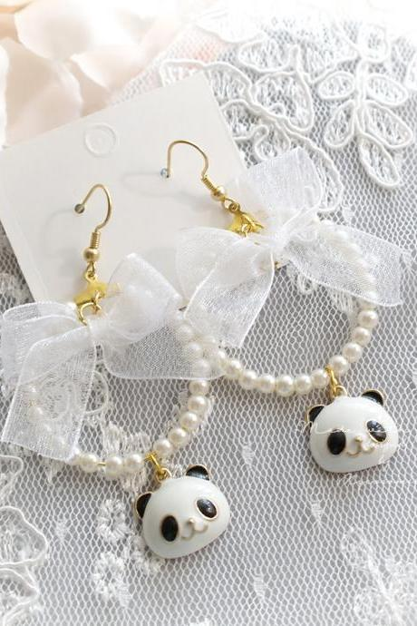 DANGLE or CLIP ON no pierce Earrings, Super Cute Pearl Hoop Panda Whtie Bow Earrings, Kawaii Sweet Fairy Kei Jewelry