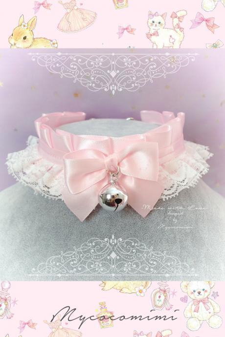 Choker Necklace ,Kitten Play Collar ,Daddys Girl Costume Baby Pink White Lace Bow Bell ,Jewelry Fairy Kei pastel Lolita Neko BDSM DDLG