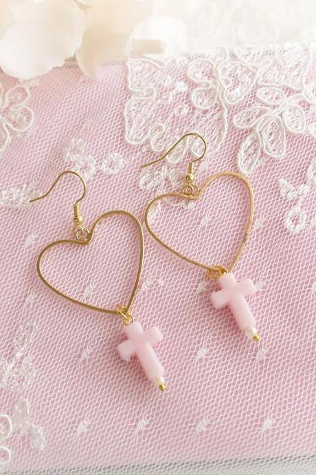 DANGLE or CLIP ON no pierced, Sweetheart Heart Baby Pink Cross chandelier Earrings , Lolita Cute Kawaii Sweet ddlg Fairy Kei Jewelry