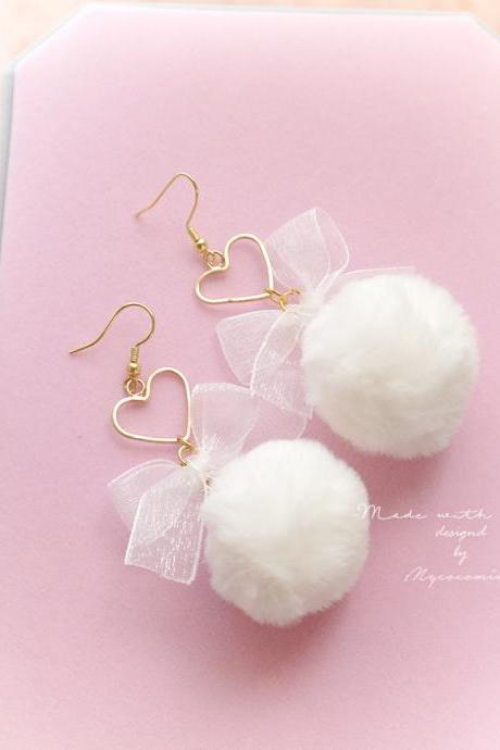 DANGLE or CLIP ON no pierce Earrings, Cute Baby Girl White Bow Heart Pom Pom Soft Faux Fur Ball Earrings, Kawaii Sweet Fairy Kei Jewelry