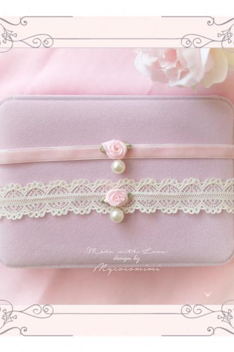 Lolita Choker Necklace, Baby Pink Velvet Beige Lace Rose Flower Faux Pearl ,neck collar pastel cute Romantic Fashion Everyday jewelry
