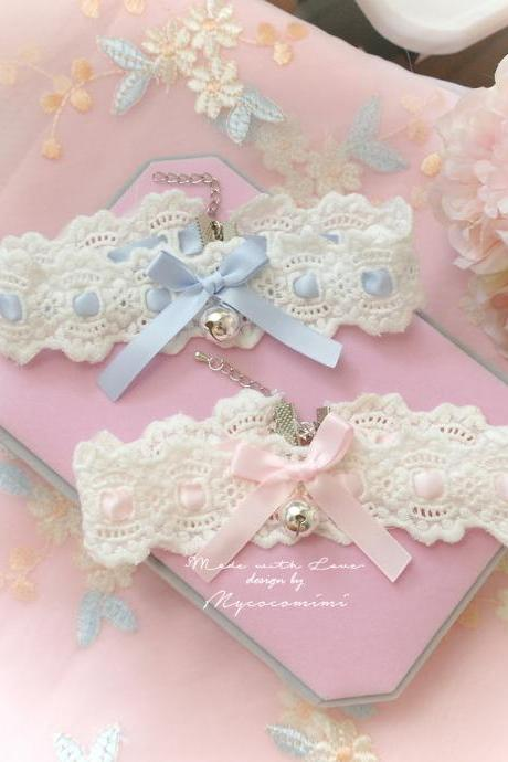 Lace Choker Necklace, Ivory Lace Baby Pink Blue bow bell ,neko neck Kitten play collar pastel cute Romantic Lolita Fashion Everyday jewelry