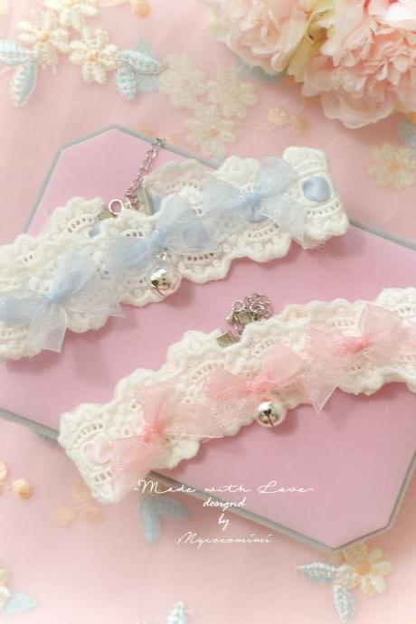 Lace Choker Necklace, Ivory Lace Baby Blue Pink bow bell ,Kitten Play collar pastel cute Romantic Lolita Maiden Fashion Everyday jewelry