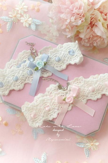 Lace Choker Necklace, Ivory Lace Baby Pink Blue bow Rose Flower ,neko neck Kitten play pastel cute Romantic Lolita Fashion Everyday jewelry