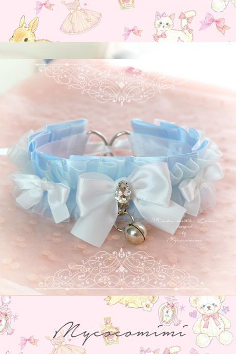 Choker Necklace ,Kitten Play Collar DDLG Daddys Girl Baby Blue Ruffles Bling Rhinestone White Bow ,Tug Proof O Ring Bell ,Princess