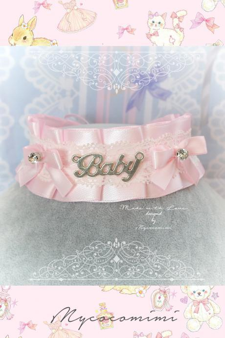 BABY Girl Choker Necklace ,Kitten Play Collar , DDLG Pink Satin White Lace Ruffles Little Bow Bling Rhinestone, Cute Kawaii Jewelry