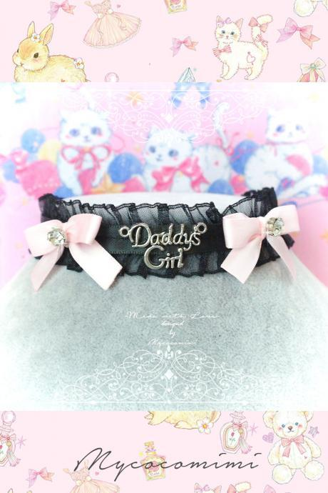 Choker Necklace, Black Ruffles Lace Daddys Girl Baby Pink Bow Bling Rhinestone ,neck collar pastel cute Romantic Fashion Everyday jewelry