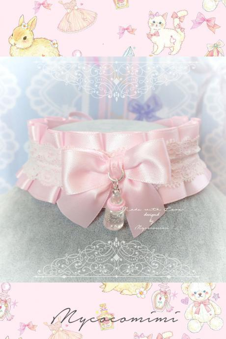 Choker Necklace ,Kitten Play Collar , DDLG Pink Satin White Lace Ruffles Bow Milk Bottle, Cute Daddys Girl Adult Baby Jewelry Fairy Kei