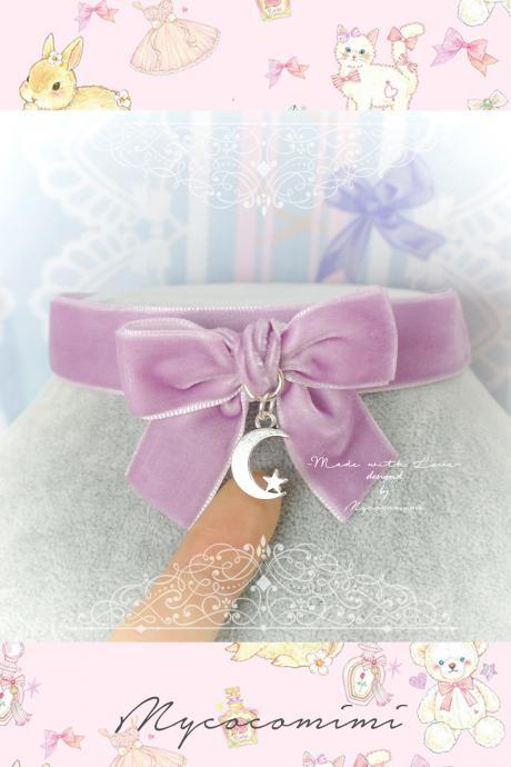 Choker Necklace ,Lilac Light Purple Velvet Bow Little Crescent Moon Star , pastel goth Kitten Play Collar DDLG Daddys Girl Everyday Jewelry