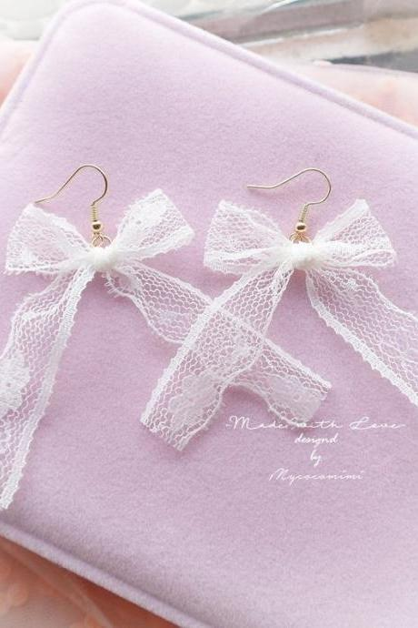 DANGLE or CLIP ON no pierce Earrings Sweetheart White Lace Bow , Long Lace Bow , Lolita Cute Kawaii Sweet Romantic Ddlg Fairy Kei Jewelry