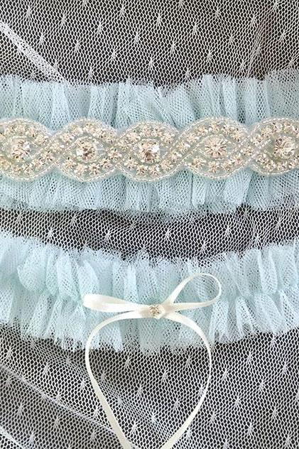 Set of 2 Light Blue Silk Tulle Rhinestone Crystal Garter Something Blue ,Ballerina Ruffles Tutu Bridal Lingerie Wedding Baby Blue Garter
