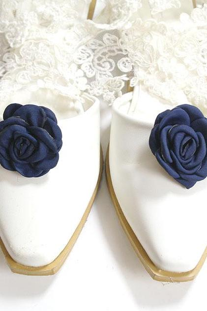Set of 2 Navy Blue flower Shoe Clips , Bridal Shoe Clips Wedding Shoe Clips Hair Accessories Pin Clip Ballerina Cute Lovely