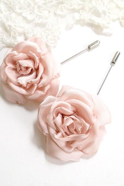 1pc Blush Pink Flower Men's flower Boutonniere Buttonhole for wedding,Lapel pin,hat pin,tie pin brooch accessories tie pin hair clip