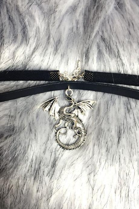 Choker Necklace Dragon Pendant Black Faux Leather Jewelry Handmade , Gothic goth Punk Witch Wicked Lolita steampunk