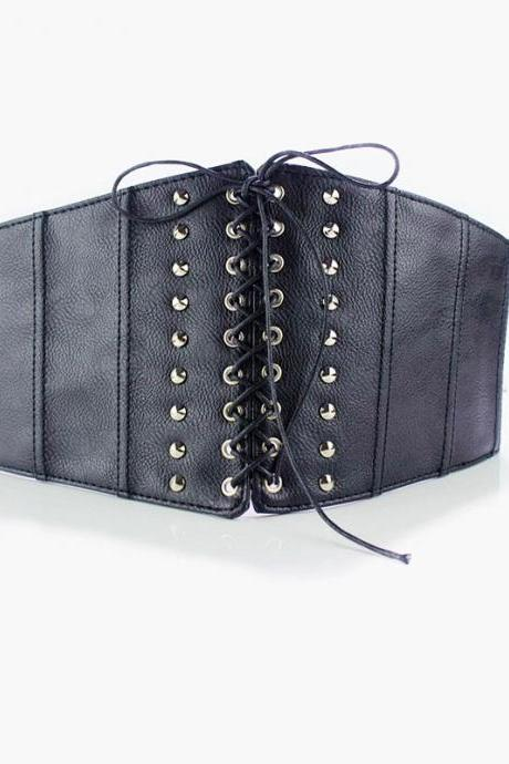 Vampire Kenzi Goth Gothic Rocker Laced Up elastic black faux leather waist stretch belt Corset hardness Sash belt wide steampunk