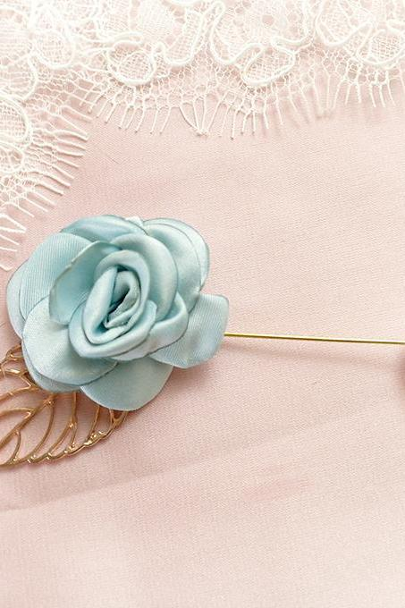 Light French Blue Flower Rose Gold Leaf Men's flower Boutonniere wedding Pearl ,Lapel pin,hat pin,tie pin brooch accessories Something Blue