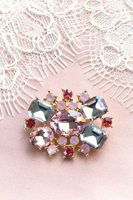 Vintage Style Luxury Pink Rhinestone Collar Small Brooch Bling Bling wedding,Lapel pin,hat pin,tie pin brooch accessories tie pin