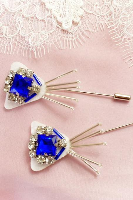 1 pc Blue Rhinestone Glass Bead Fringe Men's Boutonniere Lapel Pin wedding,hat pin,tie pin brooch accessories Buttonhole hair pin Cute