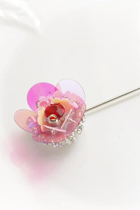 Pink Sequins Flower Red RHinestone Small Men's Boutonniere Buttonhole for wedding,Lapel pin,hat pin,tie pin brooch accessories hair pin