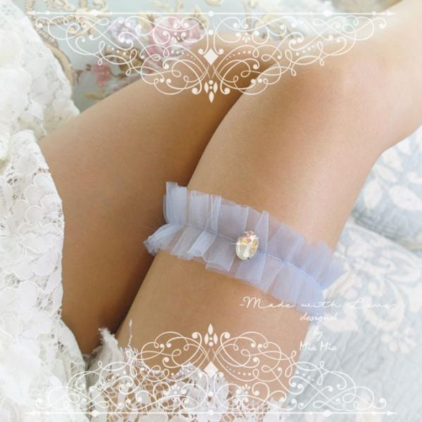 Luxury Light French Blue soft Silk Tulle Garter , rhinestone, Something Blue ,Ballerina Ruffles Tutu Bridal Lingerie Wedding ,bow, Bling