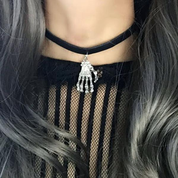 Necklace Choker black faux leather skull hand spooky Witch Choker, goth gothic wicca Jewelry steampunk Silver color