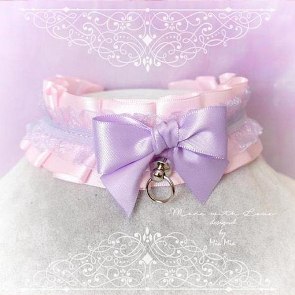 Choker Necklace ,Kitten Play Collar DDLG , Baby pink Purple Lace Lilac Bow O Ring Jewelry pastel Lolita Daddys Girl BDSM Fairy Kei