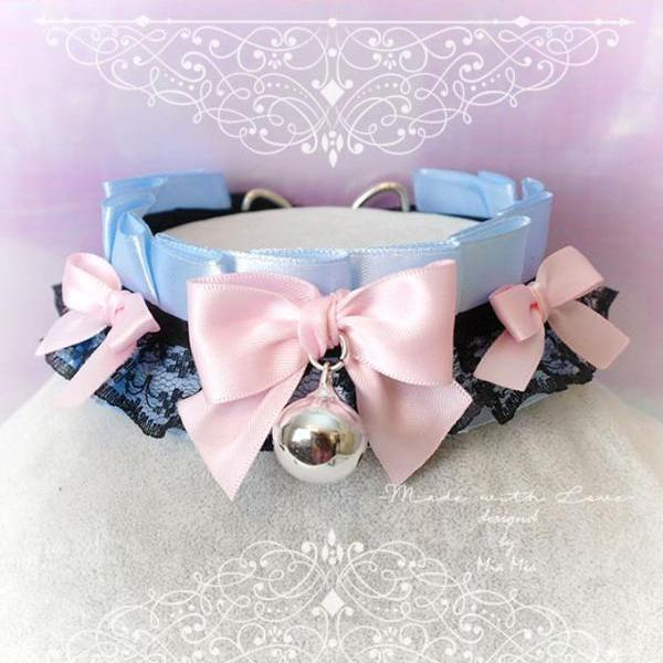 Choker Necklace ,Kitten Play Collar , BDSM DDLG Baby Blue Satin Black Lace Pink Little Bow Bell Jewelry, Fairy Kei, Daddys Girl, Adult Baby