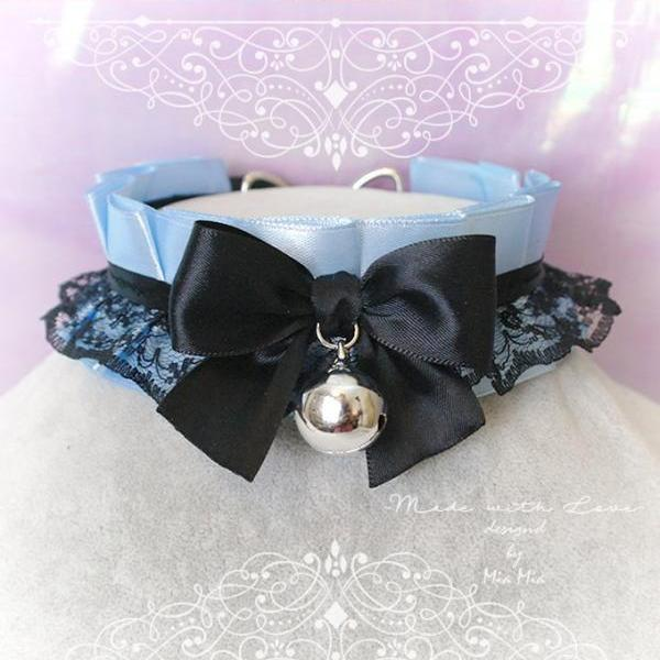 Choker Necklace ,Kitten Play Collar , BDSM DDLG Baby Blue Satin Black Lace Black Bow Bell Jewelry, Lolita Maiden, Daddys Girl, Adult Baby