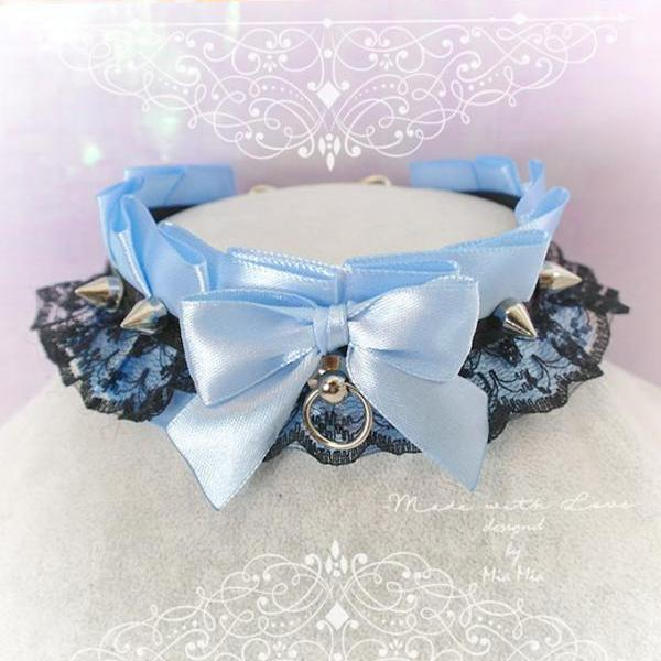 Choker Necklace ,Kitten Play Collar , BDSM DDLG Baby Blue Satin Black Lace Bow O Ring Spikes Jewelry, Fairy Kei, Daddys Girl, Adult Baby