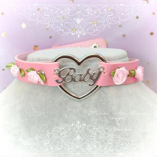 BABY GIRL Choker Necklace Collar Pink Faux Leather Heart Pink Roses , Adult Baby ,pastel goth Lolita DDLG Daddys Girl Rock Rocker Punk