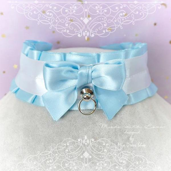 Choker Necklace, Kitten Play Collar DDLG Light Blue White Satin O Ring Bow Simple pastel Lolita Daddys Girl BDSM Human Jewelry Rule Play
