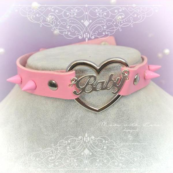 BABY GIRL Choker Necklace Collar Pink Faux Leather Heart Pink Spikes, Adult Baby ,pastel goth Lolita DDLG Daddys Girl Rock Rocker Punk