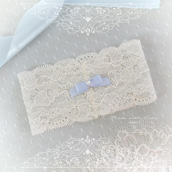 Ivory French Lace Garter Something Blue Light Blue Pearl Bow , Ballerina Bridal Lingerie Wedding Romantic Luxury Honeymoon