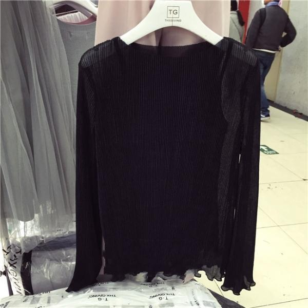 Chic Bell Long Sleeves Sheer Chiffon Blouse and Cami 2 pcs set black White Fashion